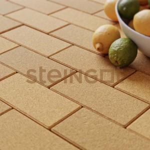 Тротуарная плитка Брусчатка 200*100*40 Желтая (верхний прокрас, минифаска)